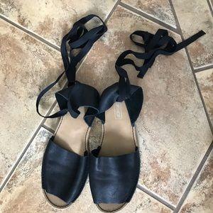 Topshop Black Leather Lace Up Sandals